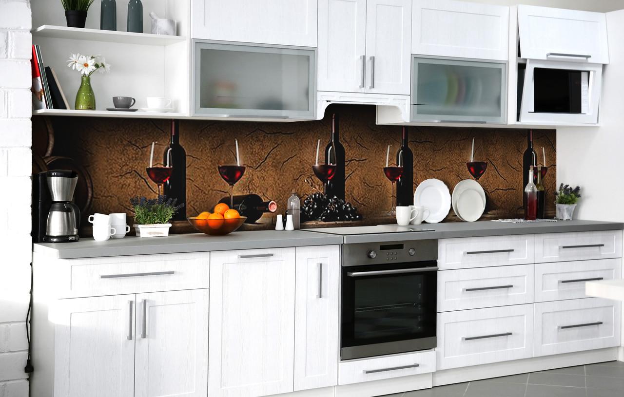 Скинали на кухню Zatarga «Вино для компании» 600х2500 мм виниловая 3Д наклейка кухонный фартук самоклеящаяся