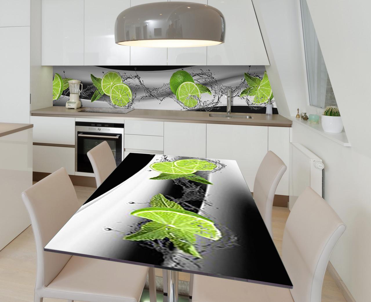 Наклейка 3Д виниловая на стол Zatarga «Купание лайма» 650х1200 мм для домов, квартир, столов, кофейн, кафе