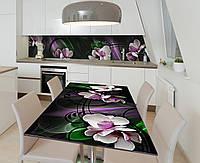 Наклейка 3Д виниловая на стол Zatarga «Танцующие орхидеи» 600х1200 мм для домов, квартир, столов, кофейн, кафе