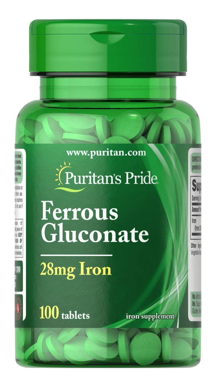 Puritan's Pride Ferrous Gluconate (28 mg Iron), Железа глюконат (100 таб.)