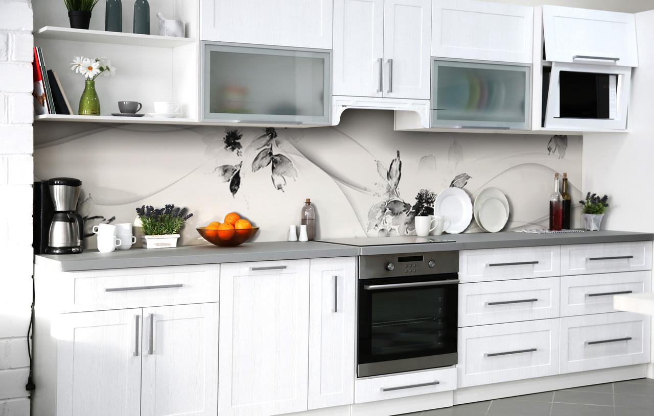 Скинали на кухню Zatarga «Чорно-біла ніжність» 600х2500 мм вінілова 3Д Наліпка кухонний фартух