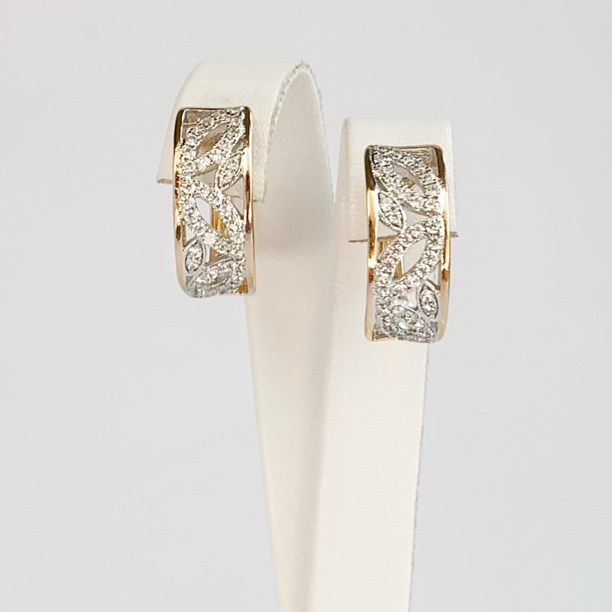 Сережки Xuping з медичного золота, білі фіаніти, позолота 18K + родій, 24983