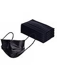 Медичні тришарові фабричні маски, чорні 50 шт, фото 3