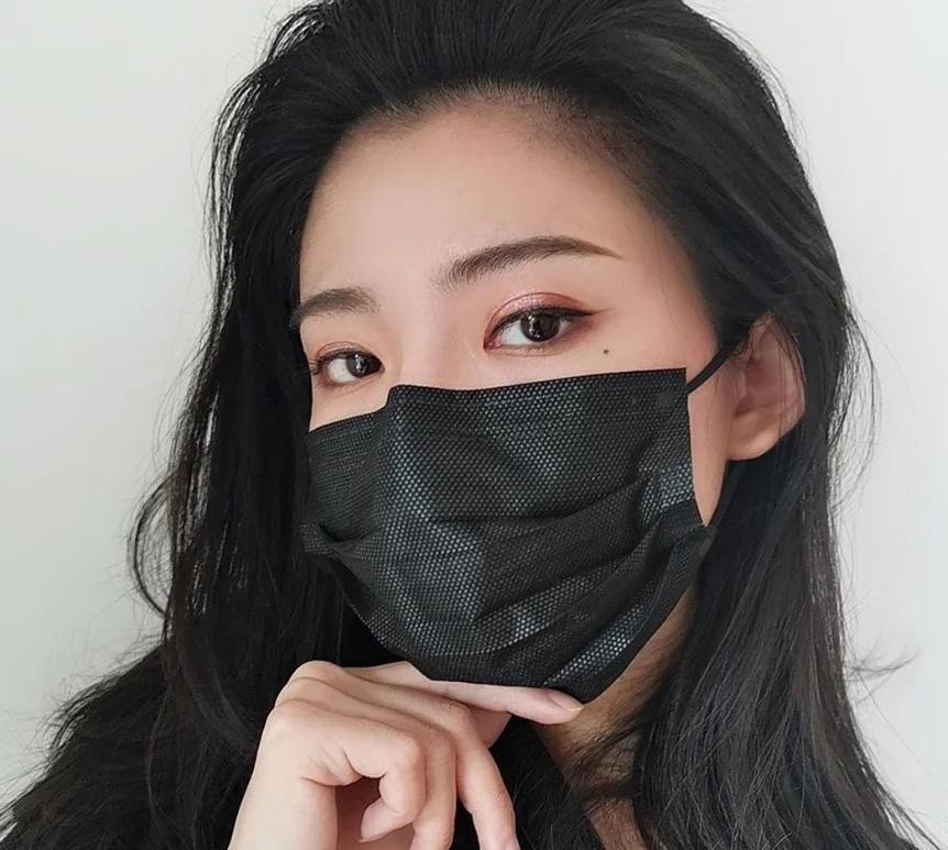 Медичні тришарові фабричні маски, чорні 50 шт