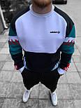 Кофта мужская теплая Adidas хлопок на флисе белая с зеленым Турция. Живое фото. Чоловіча кофта, фото 5