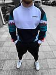 Кофта мужская теплая Adidas хлопок на флисе белая с зеленым Турция. Живое фото. Чоловіча кофта, фото 2