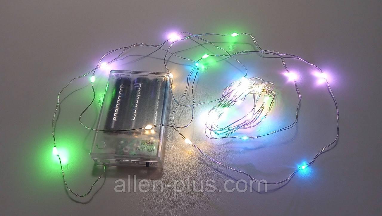 Гирлянда светодиодная (LED), 3 м, с батарейками ААх3 (Гирлянда Нить на батарейках, микронить на проволоке)