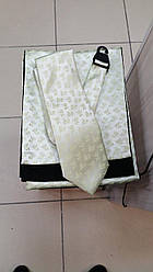 Набір чоловічий шарф атласний на флісі з краваткою світла м'ята 098