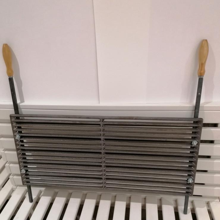 Чугунная решетка гриль 72х32 см с ручками, 17 прутьев (арт. BBQ-011)