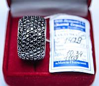 Широкое Обручальное серебряное кольцо с черным цирконом 17 размер родированое