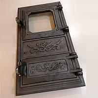 Дверка спарена с жаростойким стеклом  9 кг 270х490 мм арт. IS-028, фото 1