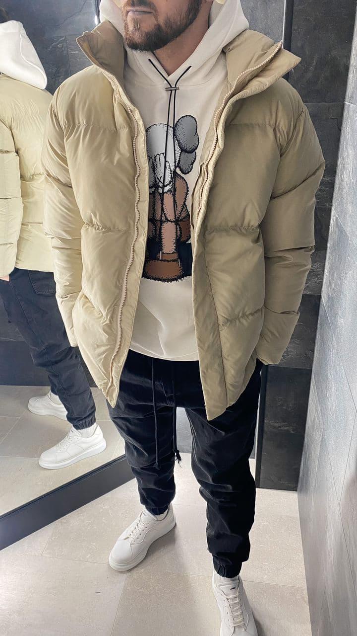 Мужская зимняя бежевая куртка
