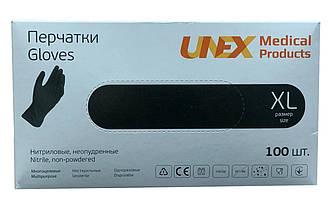 Перчатки нитриловые неопудренные UNEX BLACK (черные) XL