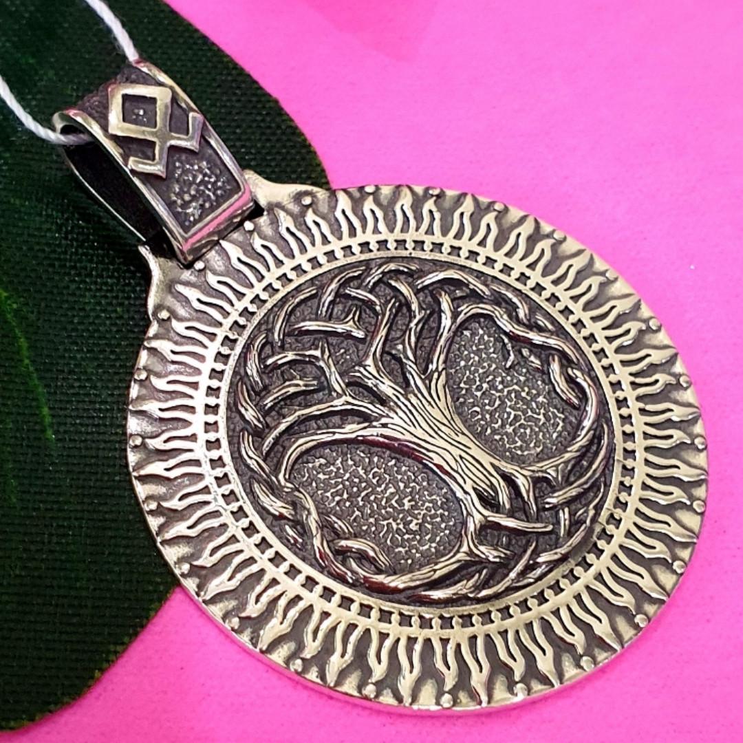 Серебряный кулон оберег Дерево Жизни и руна Одал - Подвеска из серебра Семейное древо и руна домашнего очага
