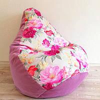 """Кресло-груша велюр с принтом """"Розовые цветы"""" KatyPuf, Размер L 100x75"""