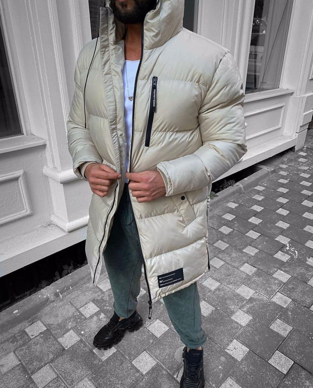 Мужская зимняя удлиненная куртка-парка бежевая