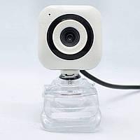 Проводная компьютерная веб-камера со встроенным микрофоном USB Webcam 02 на прищепке для учебы и скайпа
