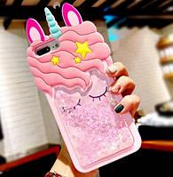 3D чехол жидкие блестки Единорог для Samsung Galaxy A51/A515
