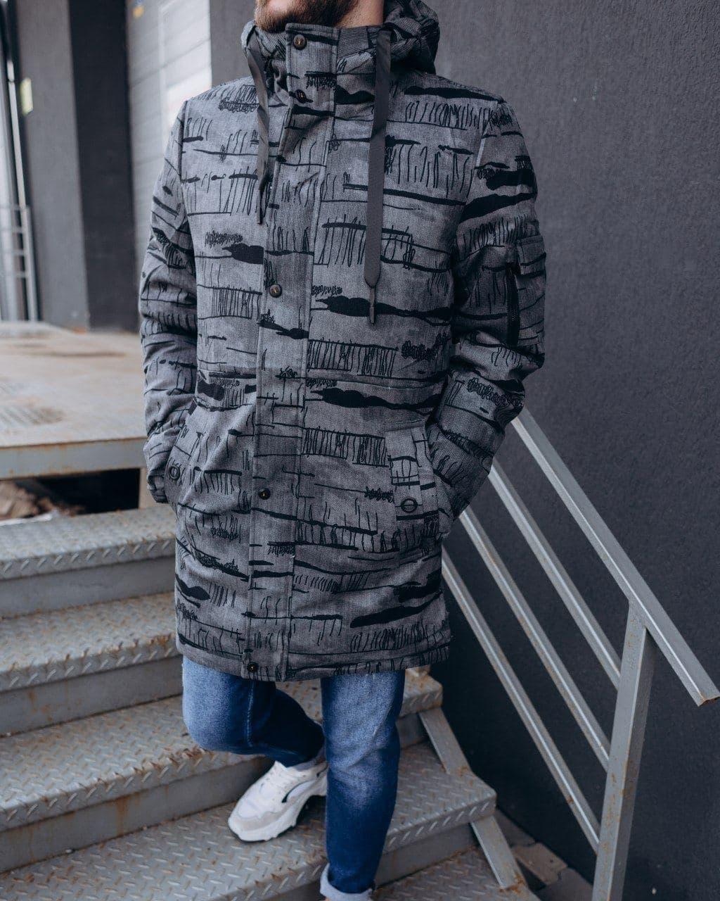 Мужская зимняя удлиненная куртка cерая