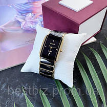 Часы женские наручные кварцевые черные Rado Integral All Diamonds Gold-Black Реплика ААА керамика, фото 3