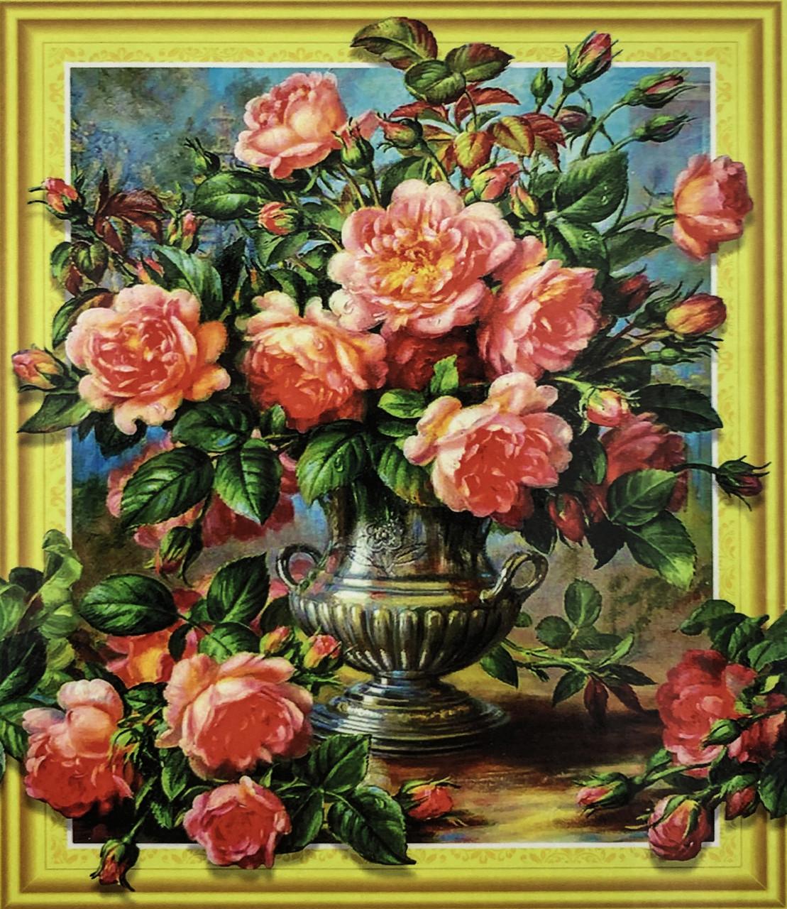 """Алмазная Мозаика на подрамнике . Набор алмазной вышивки на подрамнике """"Розы в вазе"""". Размер 40*50 см."""
