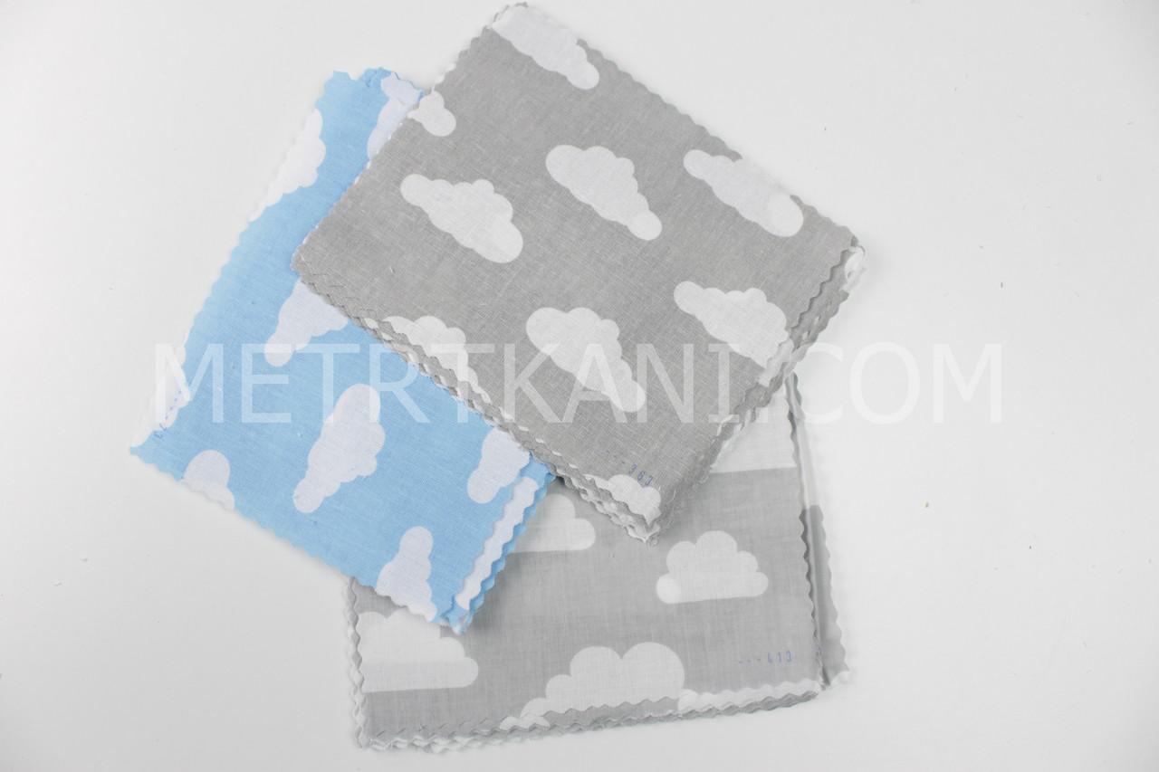 """Набор для пэчварка из лоскутов тканей """"Облака"""" на голубом и сером фоне № БН-31"""