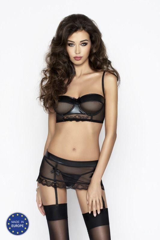Комплект белья CANNE SET black L/XL - Passion: лиф-бандо, пояс-юбочка, стринги