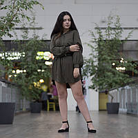 Женское платье цвета хаки с пышными рукавами H&M