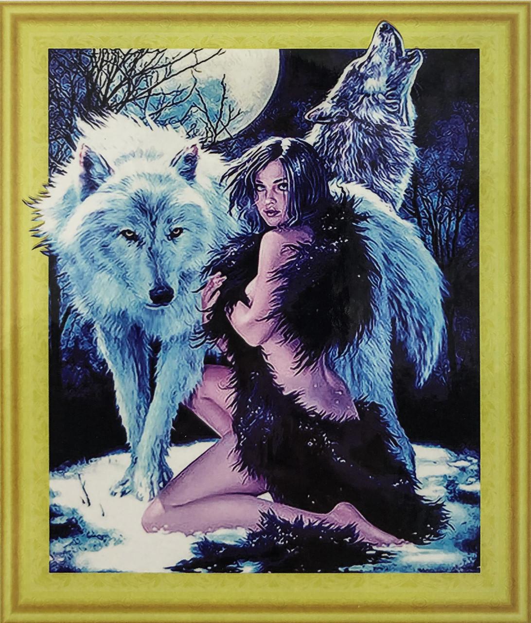 """Алмазная Мозаика на подрамнике . Набор алмазной вышивки на подрамнике """"Девушка с волками"""". Размер 40*50 см."""