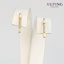 Серьги-пуссеты Xuping, размер 14х1 мм, белые фианиты (куб. цирконий), вес 1.5 г, позолота 18K, ХР01074 (1)