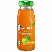 Сок детский яблоко морковь с мякотью 4м+ 175г Gerber Швейцария 1327110