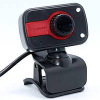Проводная компьютерная веб-камера с микрофоном и LED подсветкой USB Webcam 01 на прищепке для скайпа
