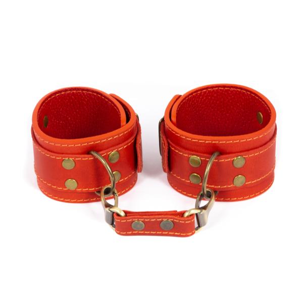 Премиум поножи LOVECRAFT красные, натуральная кожа, в подарочной упаковке