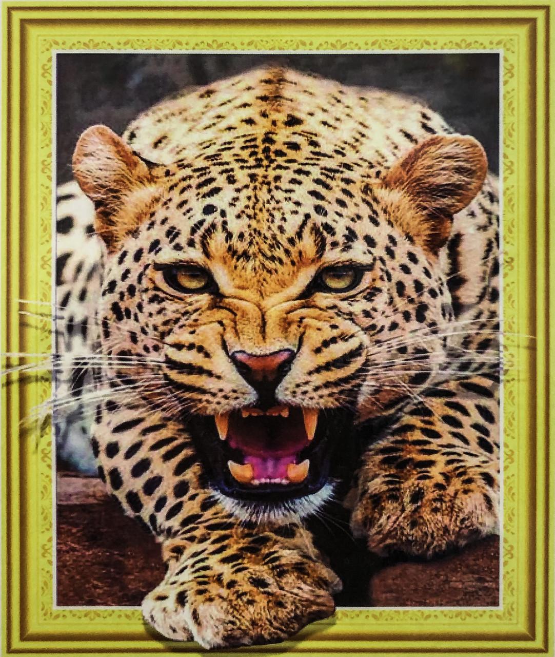 """Алмазная Мозаика на подрамнике . Набор алмазной вышивки на подрамнике """"Леопард"""". Размер 40*50 см."""