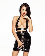 Лакированная юбка со шнуровкой, размер M, фото 1