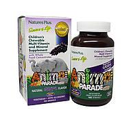 Мультивитамины для Детей, Вкус Винограда, Animal Parade, Natures Plus, 180 жевательных таблеток