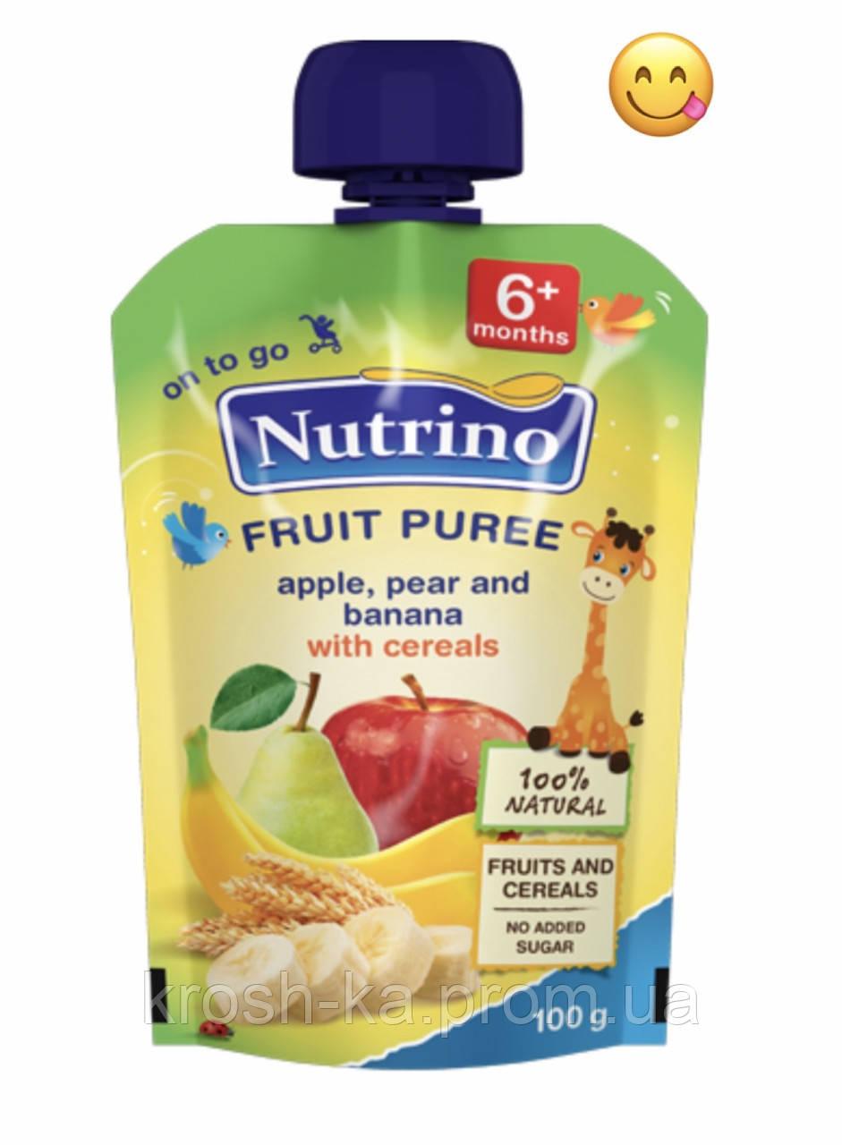 Пюре детское фруктовое Nutrino яблоко груша банан злаки (пауч) 6м+ 100г Сербия 1030027