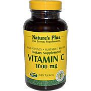 Витамин С Медленного Высвобождения, Natures Plus, 1000 мг, 180 Таблеток
