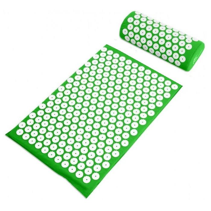 Акупунктурный массажный коврик с подушкой Зеленый