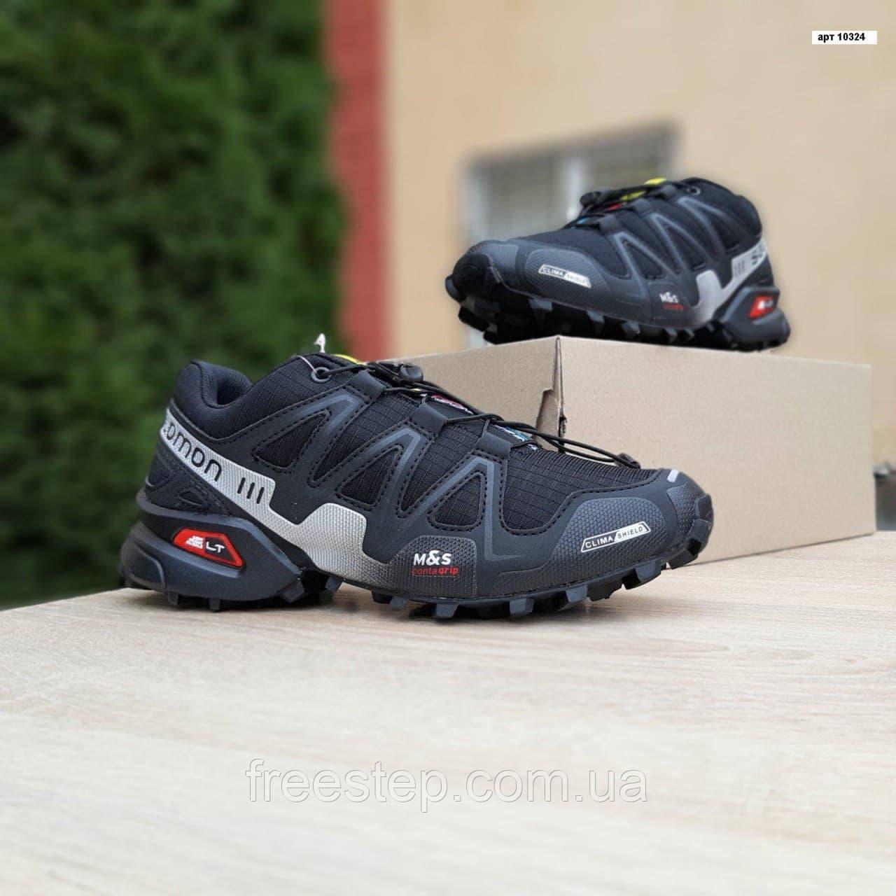Мужские кроссовки в стиле Salomon SpeedСross 3 черные с белым