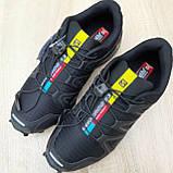 Мужские кроссовки в стиле Salomon SpeedСross 3 черные с белым, фото 4