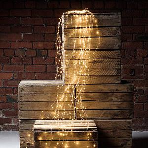 Гирлянда Лучи Росы или Конский Хвост, 3 м, 600 LED, 20 Нитей, Теплый Белый 220В