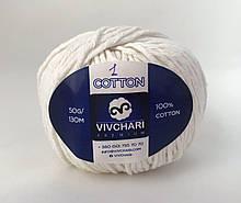 Пряжа хлопковая Vivchari Premium Cotton, Color No.1 белый