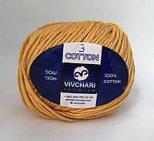 Пряжа хлопковая Vivchari Premium Cotton, Color No.3 желтый