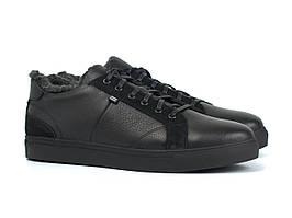 Взуття великих розмірів чоловічі шкіряні зимові кросівки чорні кеди Rosso Avangard Winter Puran Black BS