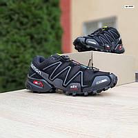 Мужские кроссовки в стиле Salomon SpeedСross 3 черные с серым, фото 1