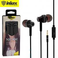 Проводные вакумные наушники INKAX EM- 306 (Белые, черные ) с микрофоном