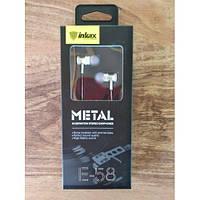 Проводные вакумные наушники INKAX E-58 metal (белые,черные,золотые) с микрофоном