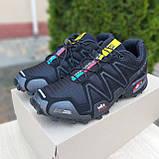 Чоловічі кросівки в стилі Salomon SpeedСross 3 чорні з сірою написом, фото 4