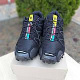 Чоловічі кросівки в стилі Salomon SpeedСross 3 чорні з сірою написом, фото 5